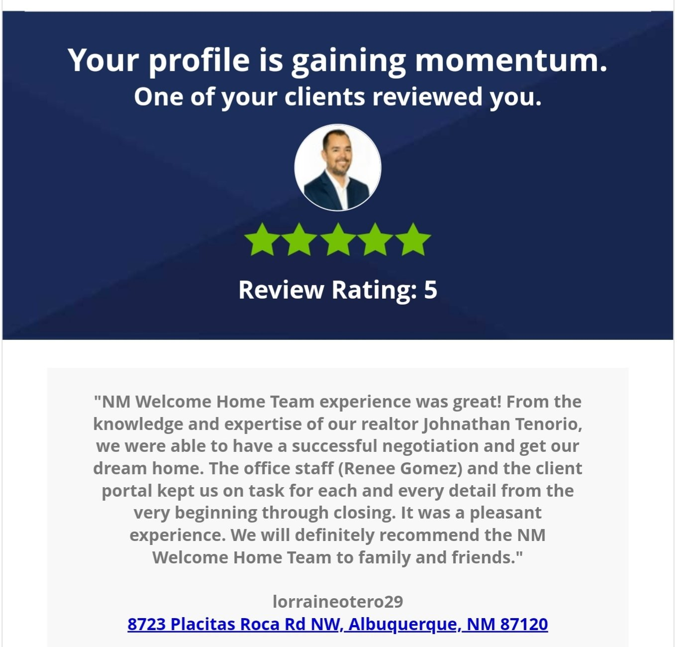 5 Star Review The NMWelcomeHome Team
