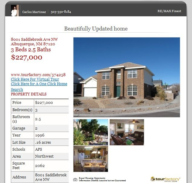 For Sale in Albuquerque 8001 Saddlebrook 87120