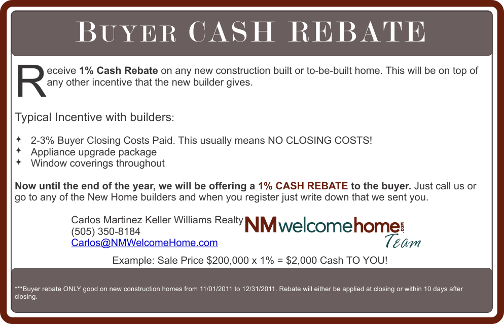 Buyer cash rebate new construction homes for Home owner builder checklist
